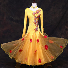 yellow standard dresses for ballroom dancing waltz modern dance dress ballroom dance competition dresses tango foxtort