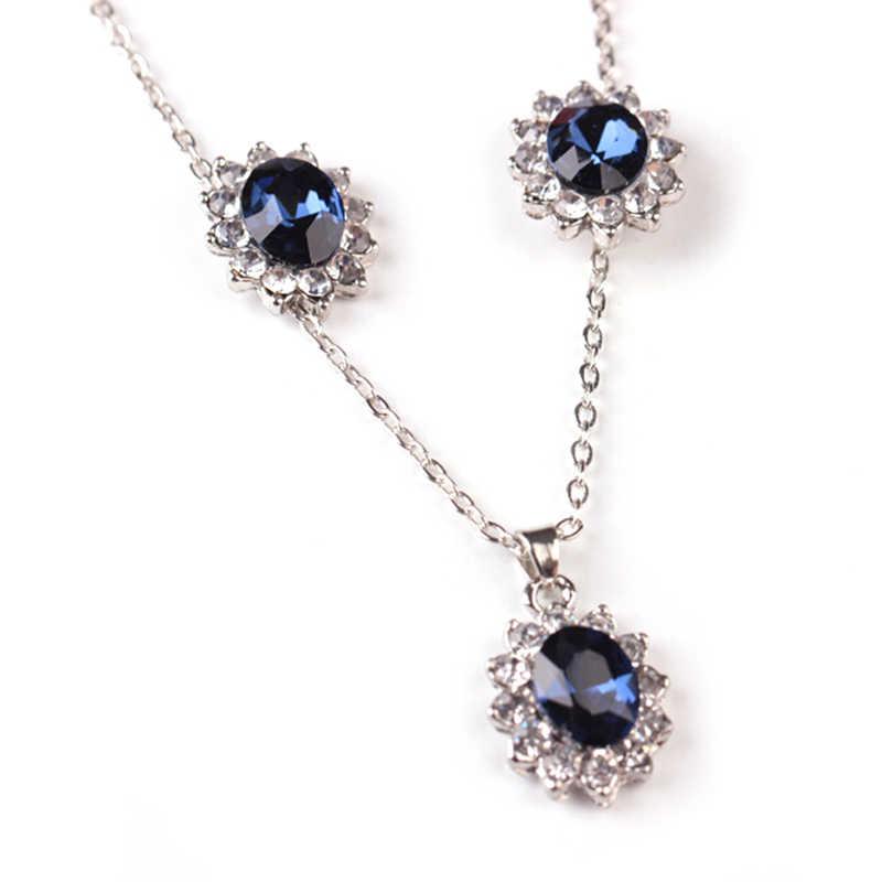 כסף צבע שרשרת סט לנשים כחול קריסטל אבן חתונה תכשיטים עבור כלות אפריקאי תכשיטי מתנת יום נישואים