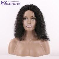 Beaudiva предварительно Цветной странный вьющиеся волосы парик 18 дюймов 1 # Jet Black механизм сделала афро кудрявый волна 110 г 100% человеческих волос