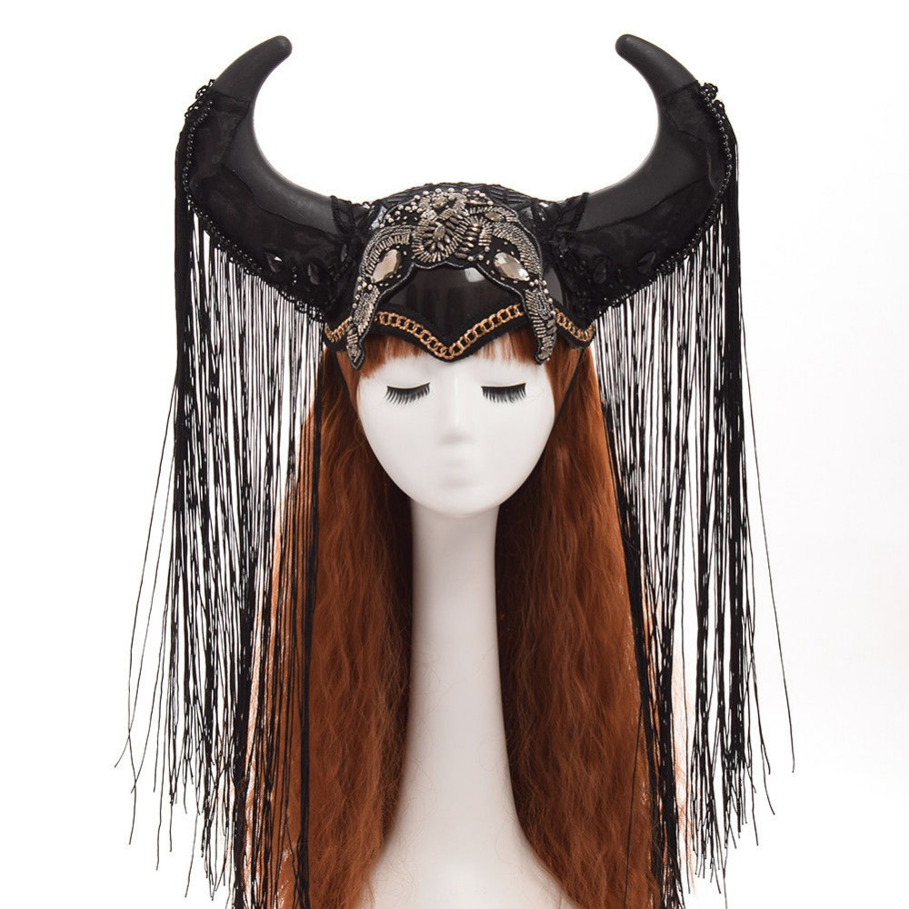 Bovine Ox Horn Headband Hairband Hat Gothic Lolita Cosplay Halloween Headwear Funny Prop Steampunk Show Girl Headdress