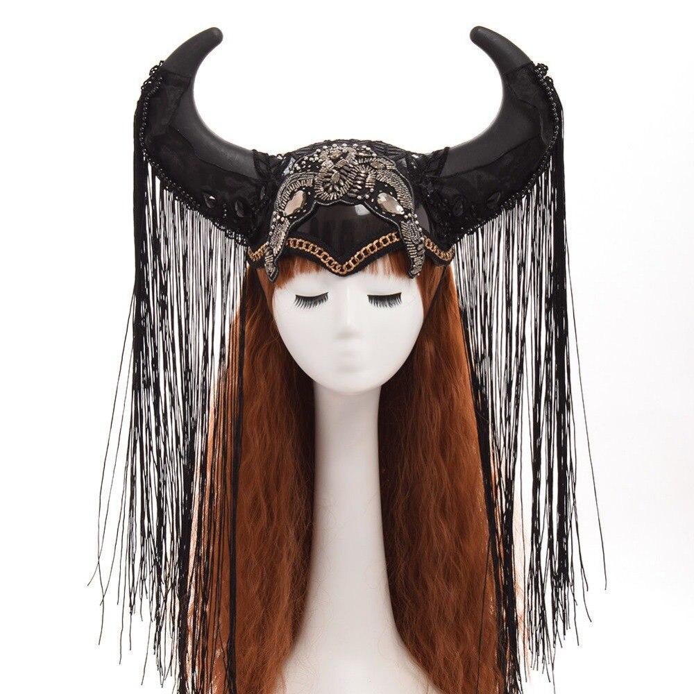 Rinder Ox Horn Stirnband Hairband Hut Gothic Lolita Cosplay Halloween Kopfbedeckungen Lustige Prop Steampunk Zeigen Mädchen Kopfschmuck-in Kostümzubehör aus Neuheiten und Spezialanwendung bei AliExpress - 11.11_Doppel-11Tag der Singles 1