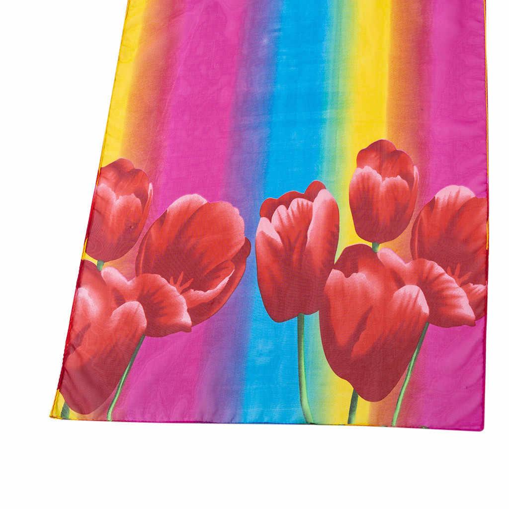 Feitong moda mujer estampado floral largas bufandas suaves mujeres abrigo bufanda señoras chal bufandas estilo elegante mujer bufandas # y30