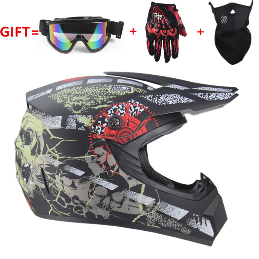 Unisex Motocross Helmet Cool Four Seasons Dirt Bike Helmet Mountain Bike Crash Helmet Include Goggles Gloves Mask
