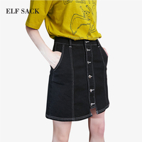 ELF SACK Summer Women 2018 Denim Skirts Mini Buttons Women Casual A Line Pockets Black Denim