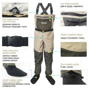 Image 3 - Fly wodery wędkarskie odzież przenośne kombinezony w klatce piersiowej wodoodporne ubrania spodnie brodzące Stocking Foot dobre jak Daiwa na buty rybne