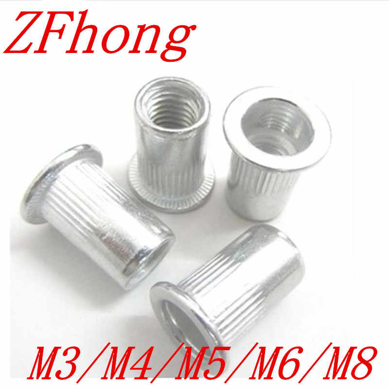 20-50Pcs M3 M4 M5 M6 M8 Aluminum Alloy Rivnut Flat Head Threaded Rivet Insert Nutsert Cap Rivet Nut