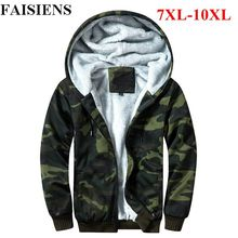 FAISIENS Fleece Thicken Man Jackets Large Size 9XL 10XL Camouflage Hoo