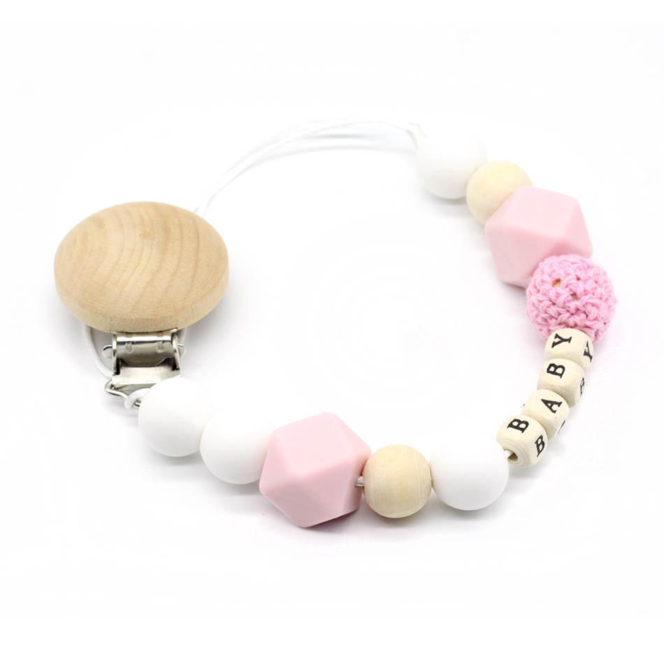 Cute Baby Personalized Wooden Bead Pacifier Soother Dummy Clip Holder ~ Girl