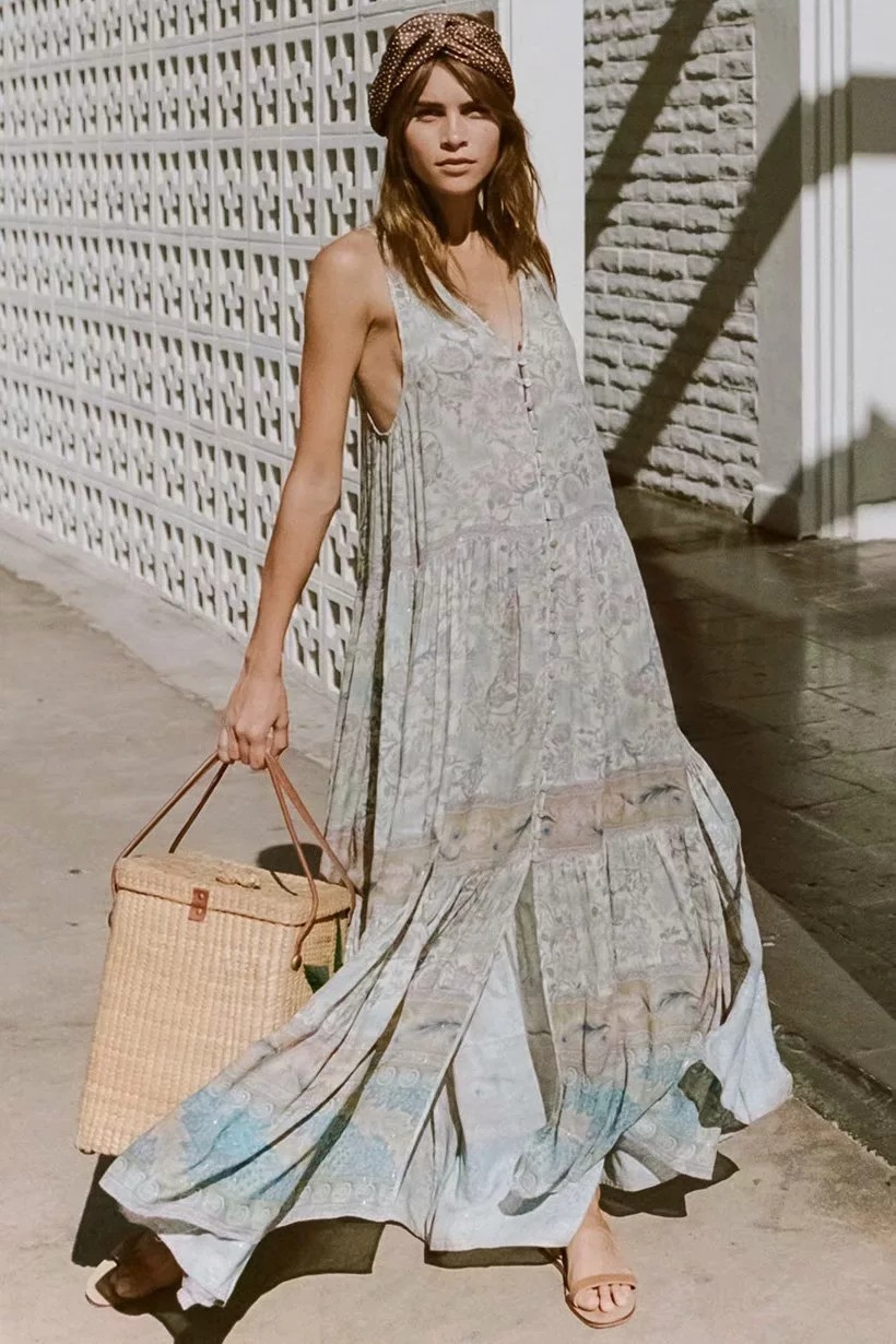 Bohemian 2019 Spring Summer New Dress Retro Floral Printing Fashion Dress Sleeveless Boho Split Maxi Long Dress Boho Chic Dress