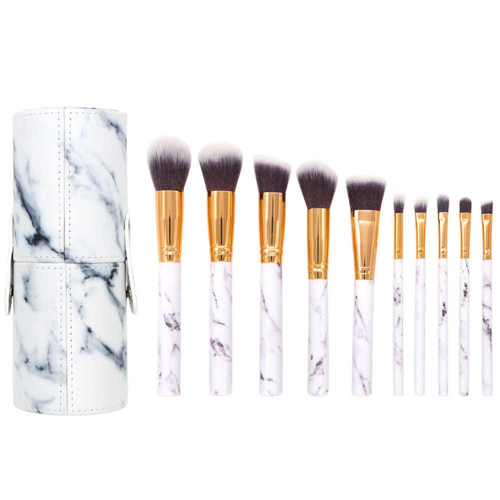 f28471e230af BBL 10pcs/Set Pro Marble Makeup Brushes Kit with PU Bucket Bag ...