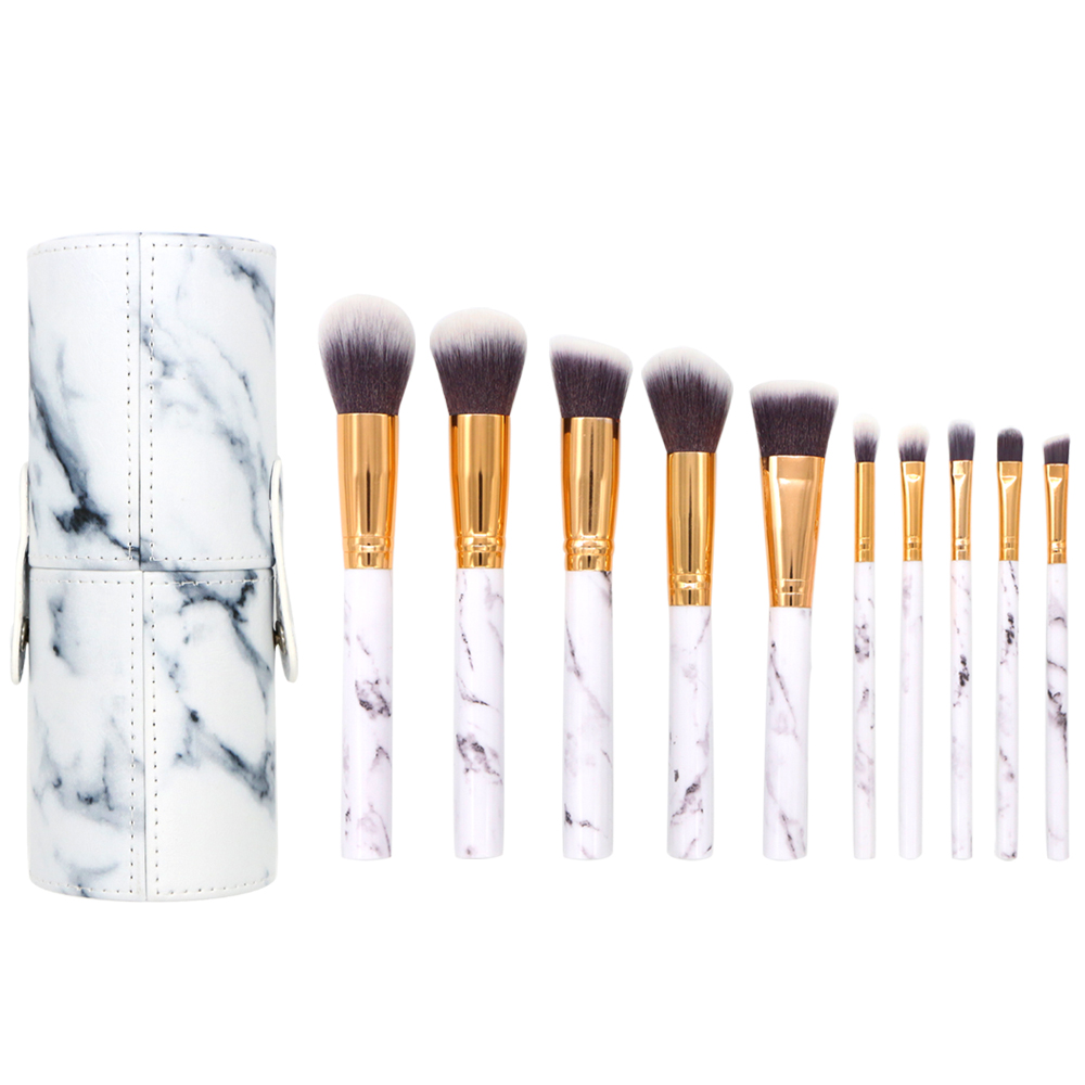 BBL 10pcs/Set Pro Marble Makeup Brushes Kit with PU Bucket Bag Foundation Shadow Eyebrow Lip Eye Brush Beauty Make Up Brush Tool msq professional 15 pcs makeup brushes set for women fashion soft face lip eyebrow shadow make up brush set kit pouch bag