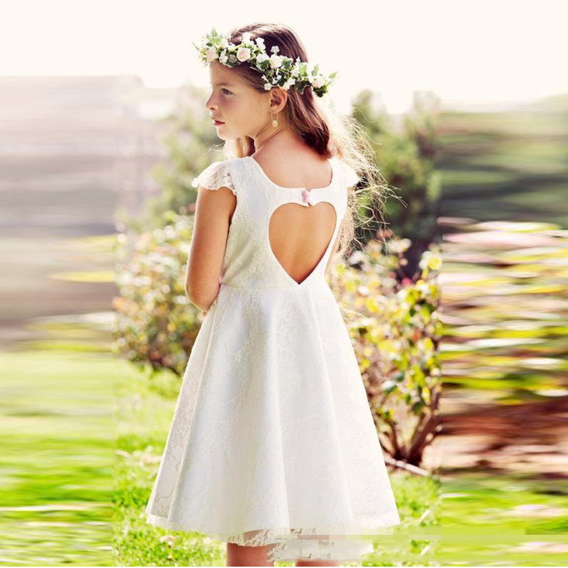 White Lace Flower Girl <font><b>Dresses</b></font> For Wedding Cap Sleeve Knee Length Heart-Shape Backless Girls <font><b>Dresses</b></font> With Pink Bow Kids <font><b>Dresses</b></font>
