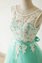 vestidos de fiesta 2015 teal Appliques v neck bridesmaid dress with sashes Knee-Length kleider wedding party dresses BMD146