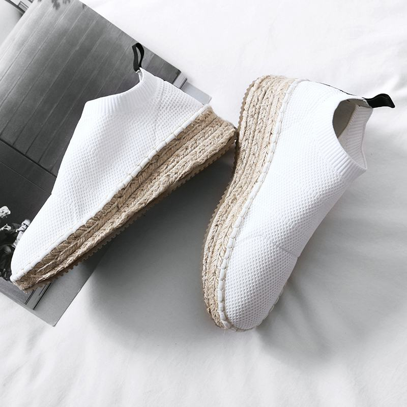 Véritable Rond Hollywood Femmes Coins Tricot Automne En forme Mujer Style black White Cuir Chaussures Augmenté Plate Nouveau Étoiles Bout Paresseux Zapatos wg1qn
