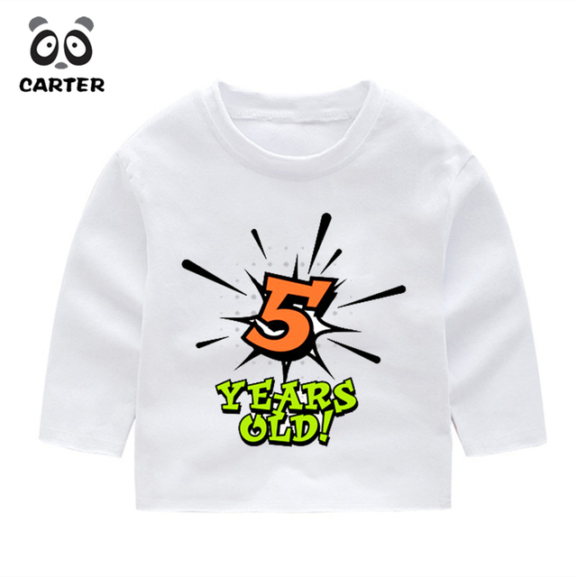 Autumn Birthday Boy Number 1 5 Letter Long Sleeve T Shirt Winter Kids Casual Tops Baby Happy Gift