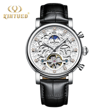 лучшая цена KINYUED Men Mechanical Watch Bussiness Leather Wristwatches Moon Phase Tourbillon Automatic Mens Watches Skeleton Male Clock