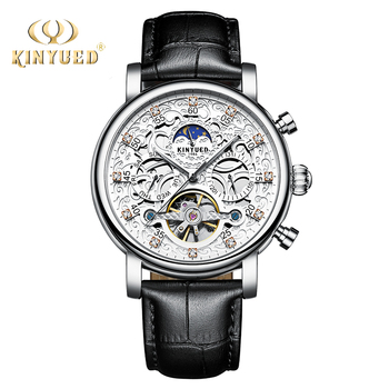 KINYUED Men Mechanical Watch Bussiness Leather Wristwatches Moon Phase Tourbillon Automatic Mens Watches Skeleton Male Clock
