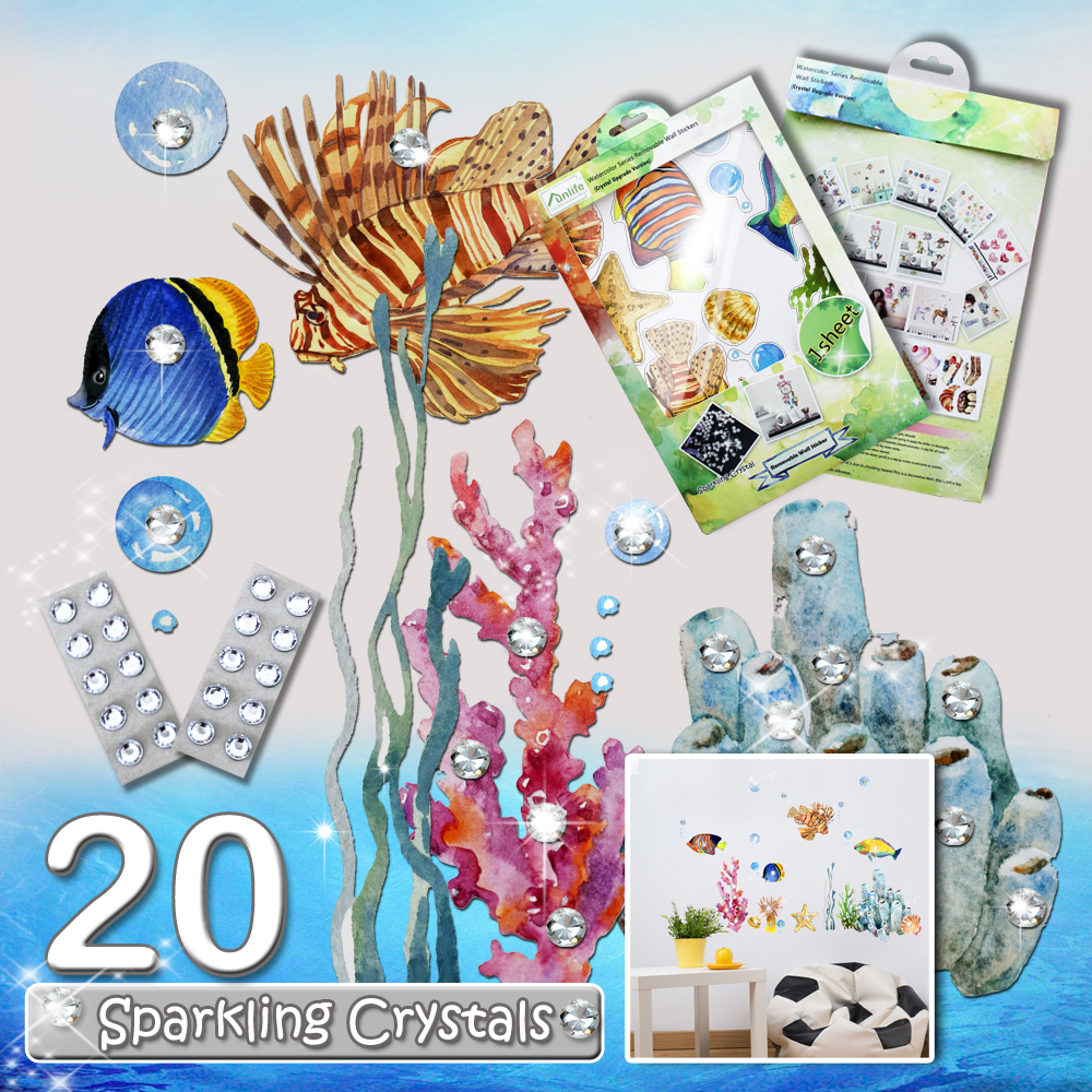 funlife Watercolor Underwater world Sea Tropical Fish Children Wall Decal with 20 Crystals for Nursery Room Deco BDWS002