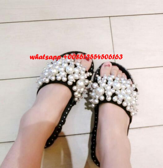 Summer newest flat platform sandal for woman open toe white pearl bead sexy slippers 2017 beachwear gladiator sandal  2017 newest summer black brown leather sandal for woman sexy open toe flat crystal sandal sequins bead t strap buckle shoes