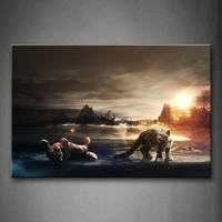 Unframed Wall Art Pictures Snow Leopards Lakeside Sunset Canvas Print Animal Posters No Frame For Home Living Room Decor