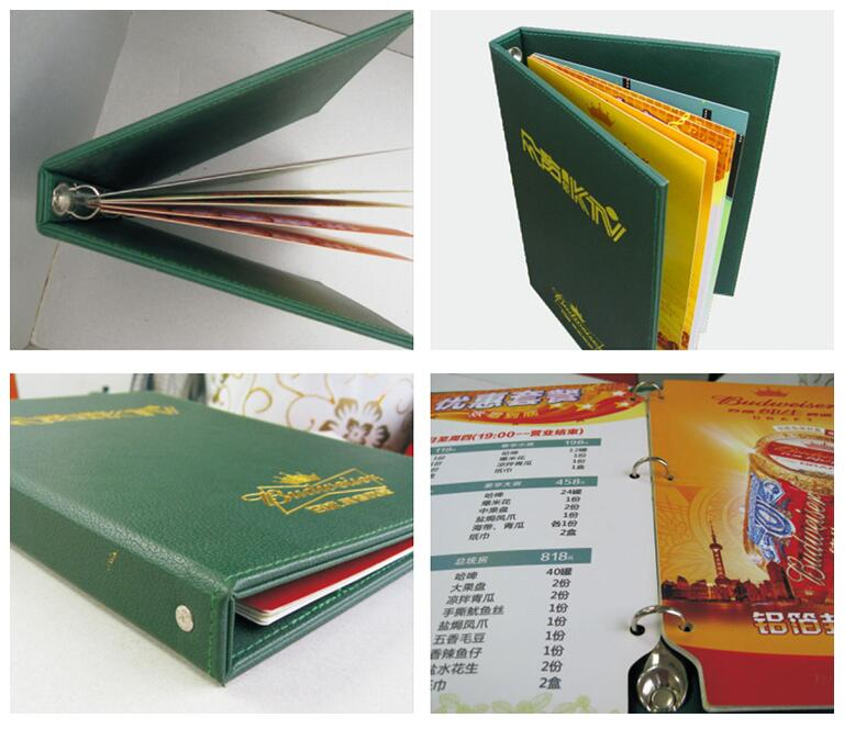 Factory price hardcover restaurant menu printing services