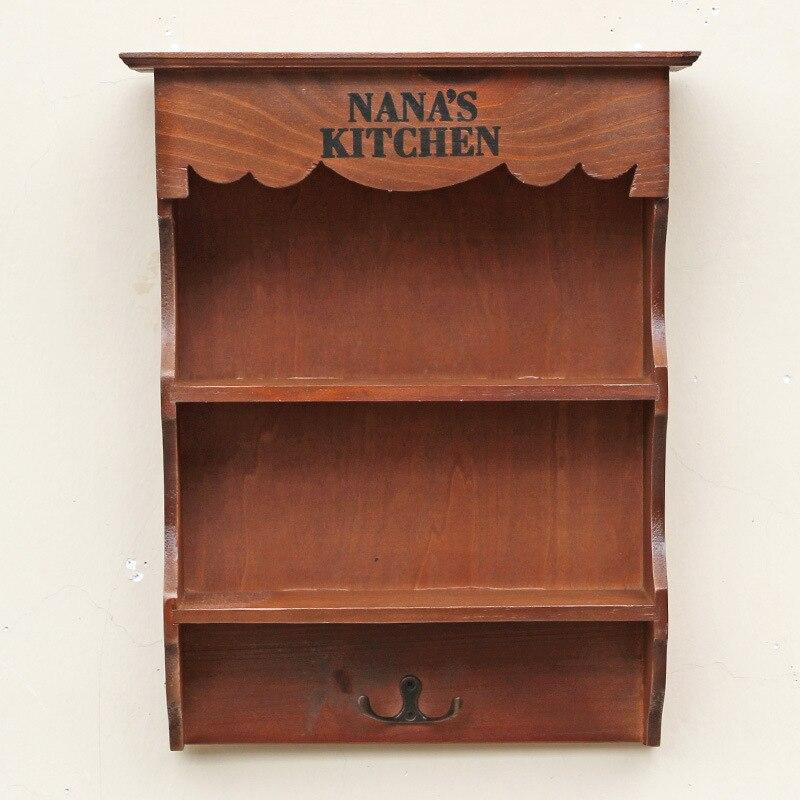 Lebensmittelgeschft Retro Holz Haushalt Lagerung Regal Rack Mit Haken Vintage Wand Hngen Wohnzimmer Schrank Lagerregale
