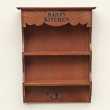 Grocery Retro Wooden Household Storage Shelf Rack with Hook Vintage Wall Hanging Living Room Cabinet Wooden Storage Shelving Box