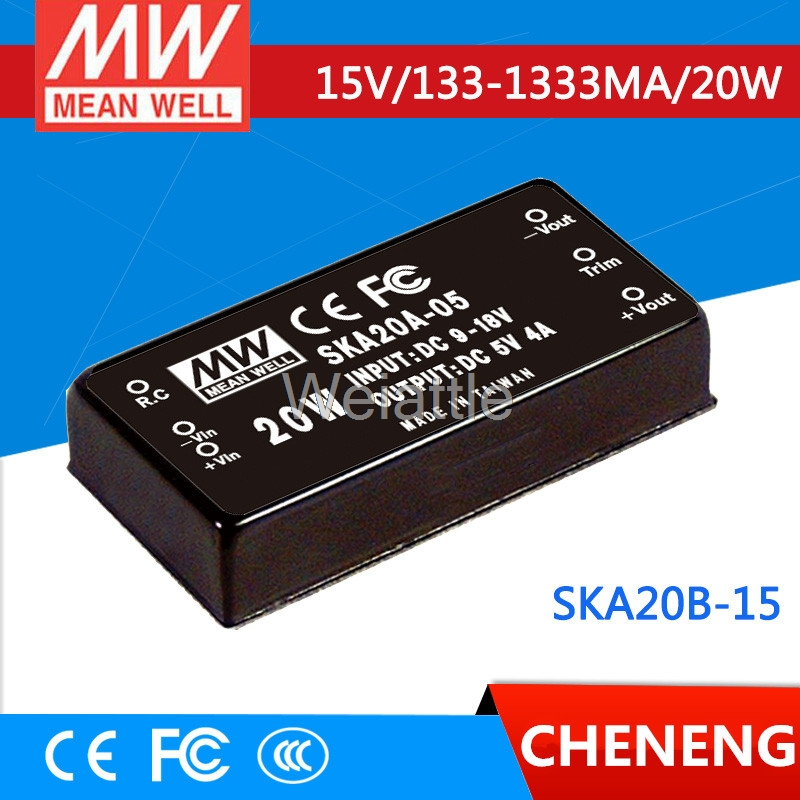 цена на MEAN WELL original SKA20B-15 15V 1333mA meanwell SKA20 15V 20W DC-DC Regulated Single Output Converter