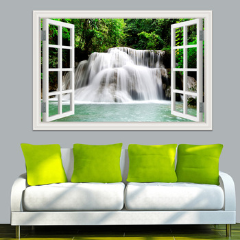Waterfall 3D Window View Wallpaper Nature Landscape Wall Decals for Living Room-Free Shipping 3D Wall Stickers Living Room nature wall decals