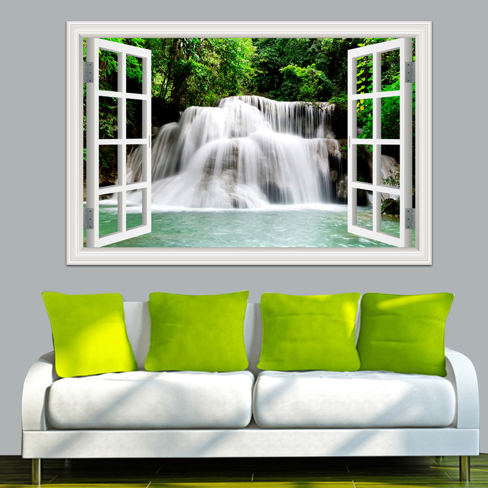 3D Wall Sticker Home Decal Foss 3D Window View Bakgrunn Natur Landskap Veggoverføringsbilder for Stue Home Decor Wall Art