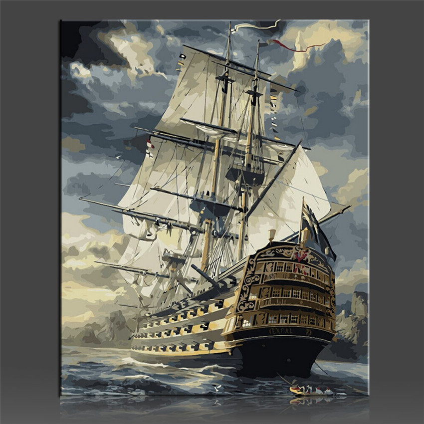 Sailing Boat Painting Coloring By Numbers On Canvas DIY Handpainted No Frame Oil Painting Coloring By numbers Home Decor