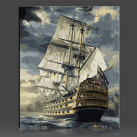 Sailing Boat Painting Coloring By Numbers On Canvas DIY Handpainted No Frame Oil Painting Coloring By