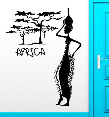 Africa <font><b>African</b></font> Woman Female Vinyl Wall Sticker Removable Decal Wall paper <font><b>Home</b></font> <font><b>Decor</b></font> <font><b>home</b></font> Decoration