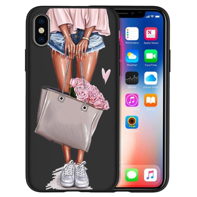 Модный Роскошный чехол для телефона на высоком каблуке с цветочным узором для девочек, чехол для iphone X XS Max XR 6 7 8 Plus 5S SE, мягкий чехол Etui - Цвет: 01