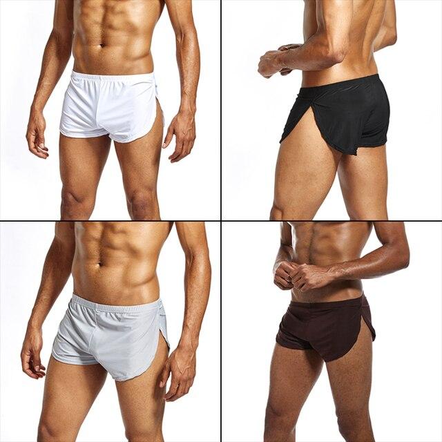 Homens Boxer Shorts Cintura Baixa Respirável Casual Cool Presente Para Namorado Cor Sólida Esporte IK88