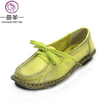 f6a436776 MUYANG hecha a mano del cuero genuino de las mujeres zapatos mujer mocasines  cordón plana suave cómodo zapatos de mujer