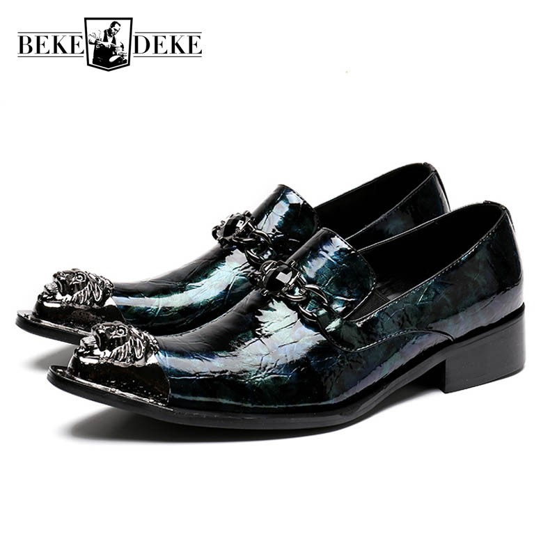 Brand Business Banquet Formal Shoes Men Genuine Leather Metal Toes Block Heels Wedding Party Dress Shoes