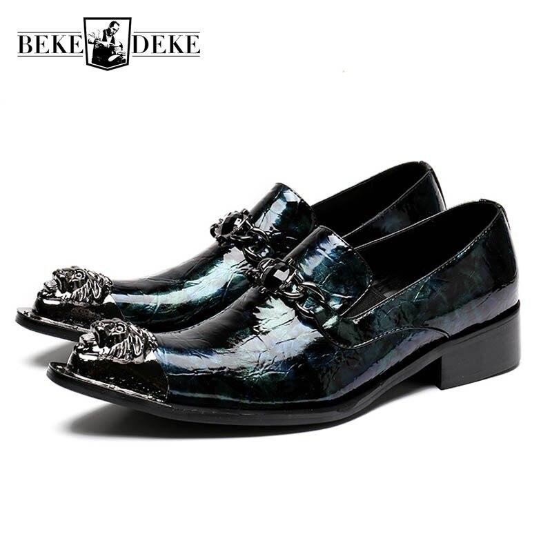 الماركة التجارية مأدبة رسمية أحذية الرجال جلد طبيعي المعادن أصابع كتلة الكعوب الزفاف حزب اللباس أحذية الفاخرة المتسكعون الأحذية-في أحذية رسمية من أحذية على  مجموعة 1