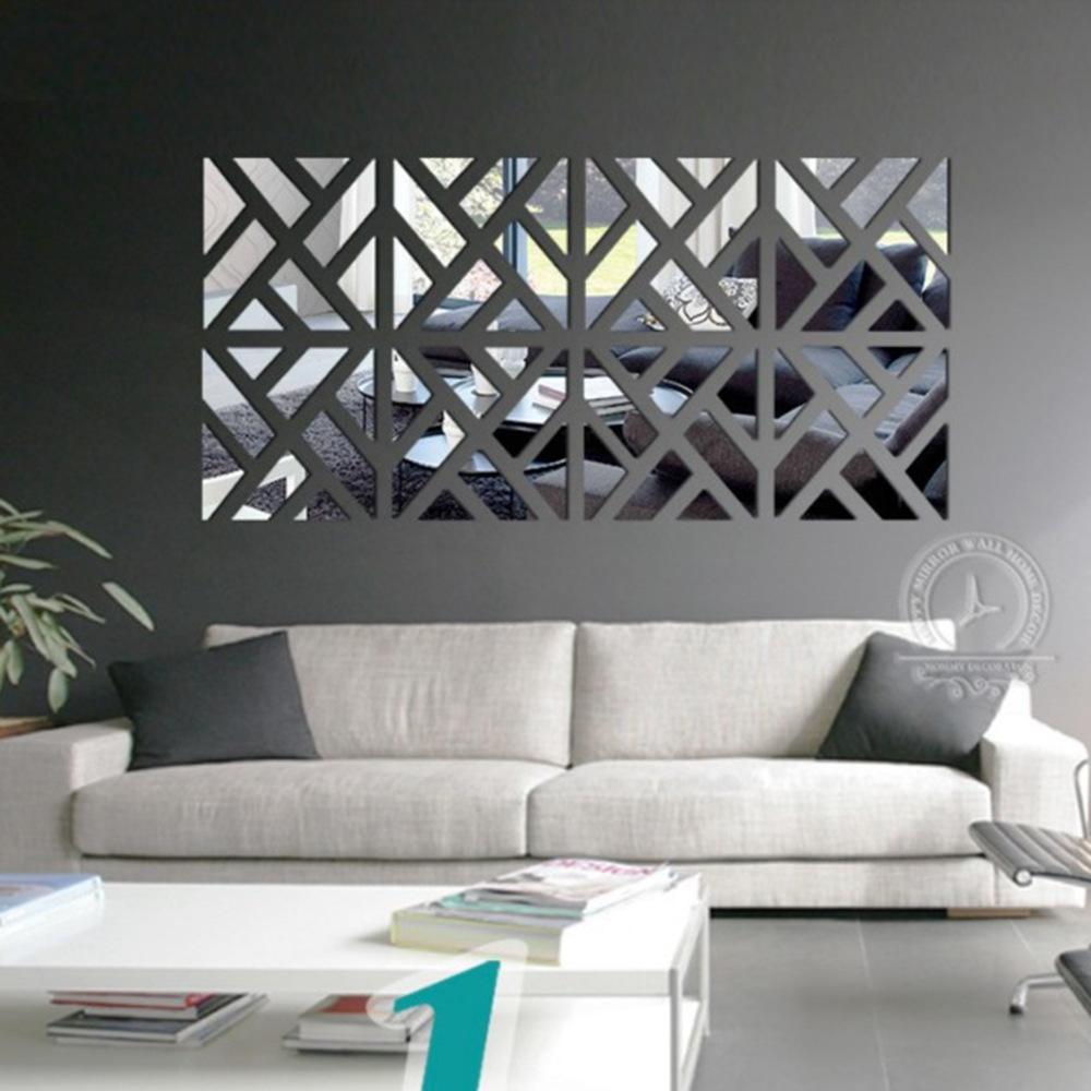 d estilo moderno espejo de acrlico pegatinas de pared patrn de costura tipo rectangular saln dormitorio