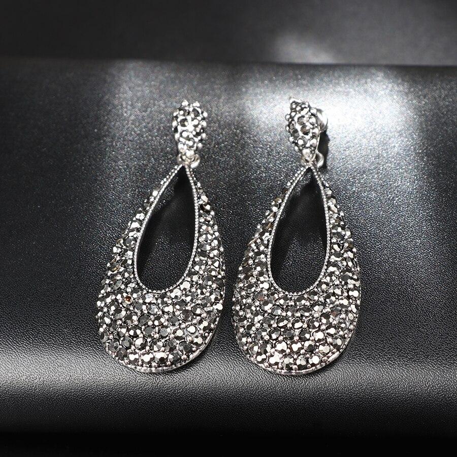 d2cfd8796 Kinel Luxury Bright Black Crystal Drop Earrings For Women Antique Silver  Punk Party Accessories Charm Earrings Vintage Jewelry   Jewellery Shop  Online