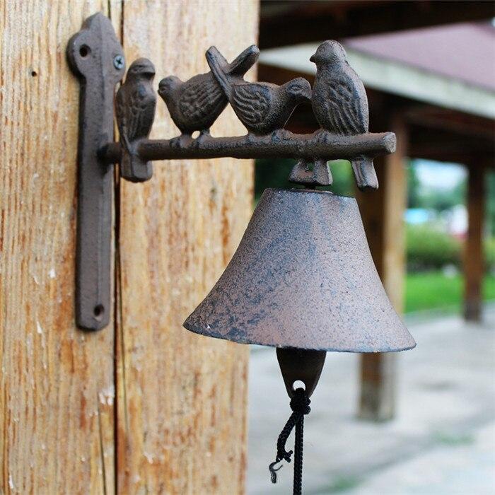 Чугунный Приветственный ужин колокольчик птицы на окуня настенное крепление висячий дверной звонок примитивный коричневый Дом Сад Наружн... - 2