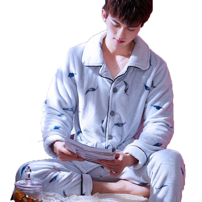 Men's Pajamas Winter Mens Pajama Sets O-neck Long Sleeve Pyjamas For Men Sleepwear Thick Warm Coral Fleece Pajamas Male Homewear #6