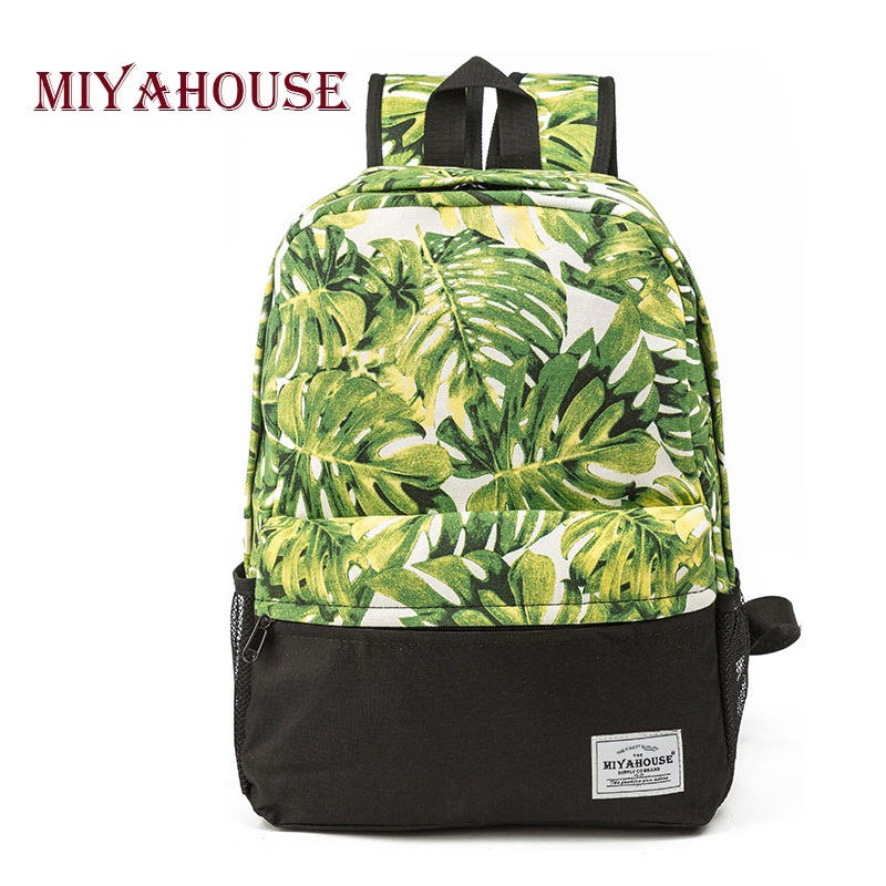Miyahouse Green Leaves Printed Backpack For Girls Casual Canvas Design School Bags For Teenager Travel School Bag Lady miyahouse preppy style canvas school backpack for teenager girls cute unicorn printed school bag female travel bag