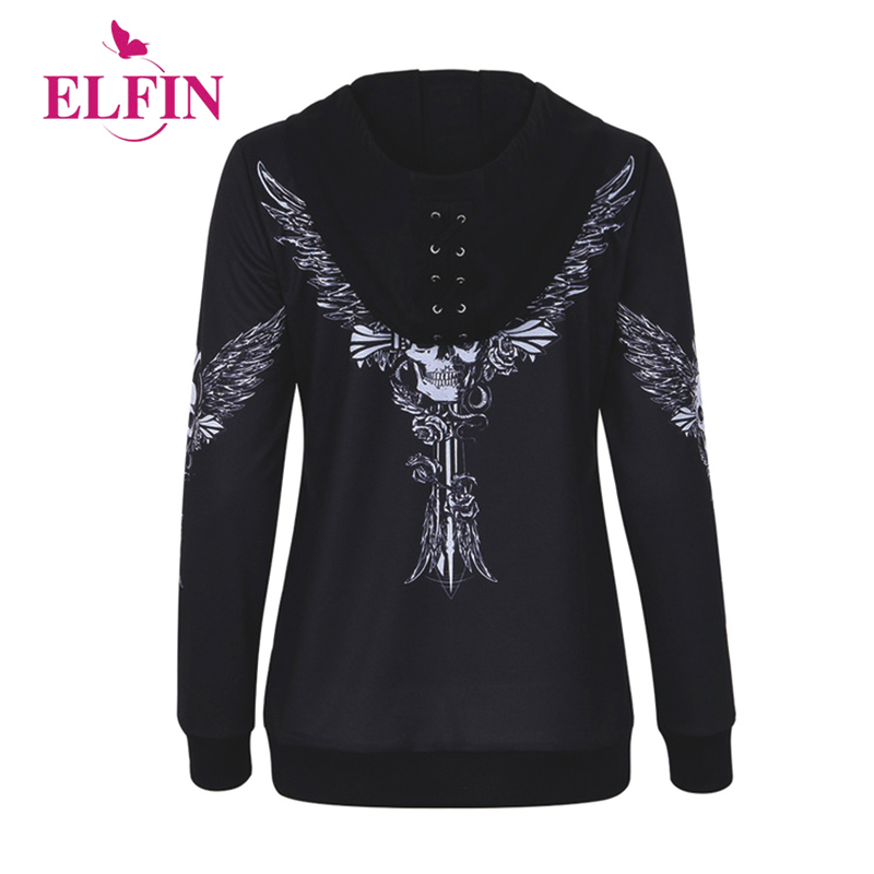 Hoodies Sweatshirt Women Angel Wing Skull Print Zip Up Hoodie Punk Casual Lace Up Hooded Pullover Top Sudaderas Mujer WS5597R