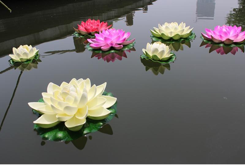 imitado de loto flores flotantes para estanque de jardn piscina acuario decoracin