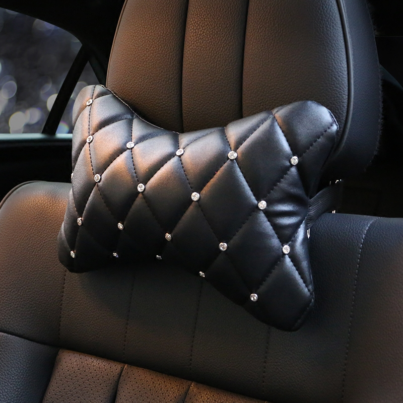 Four seasons car products leather headrest gear / handbrake /steering wheel cover shoulder pads set decoration diamond kit