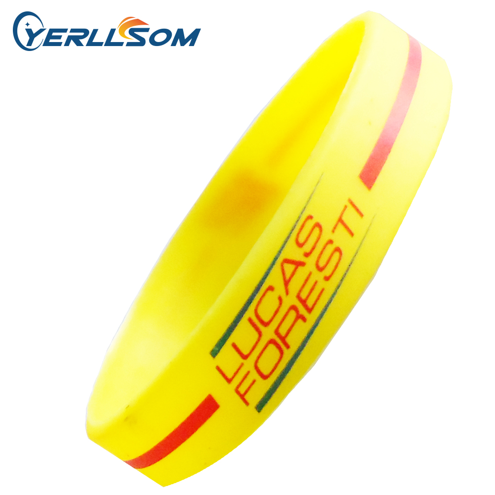 100pcs lot customized 2color logo Screen print texts logo rubber silicone bracelets Promotional gifts for Events