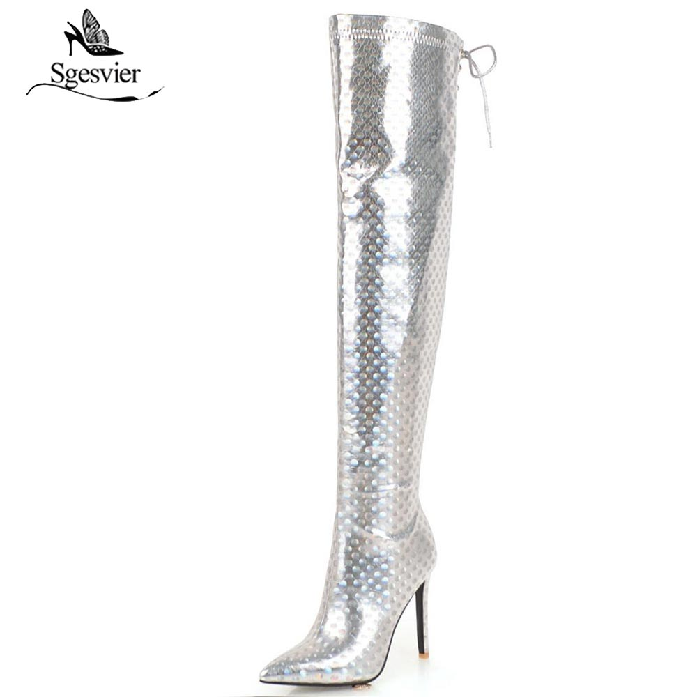94232fad7f3 Sgesvier autumn winter glitter sequined cloth pointed toe over the knee  boots silver gold women s shoes zipper long boots OX956