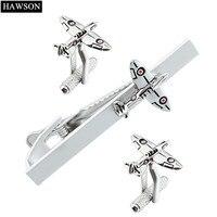 HAWSON Fashion Cuff Links And Tie Clip Set Plane Shape Silver Color Matte Design Tie Bar