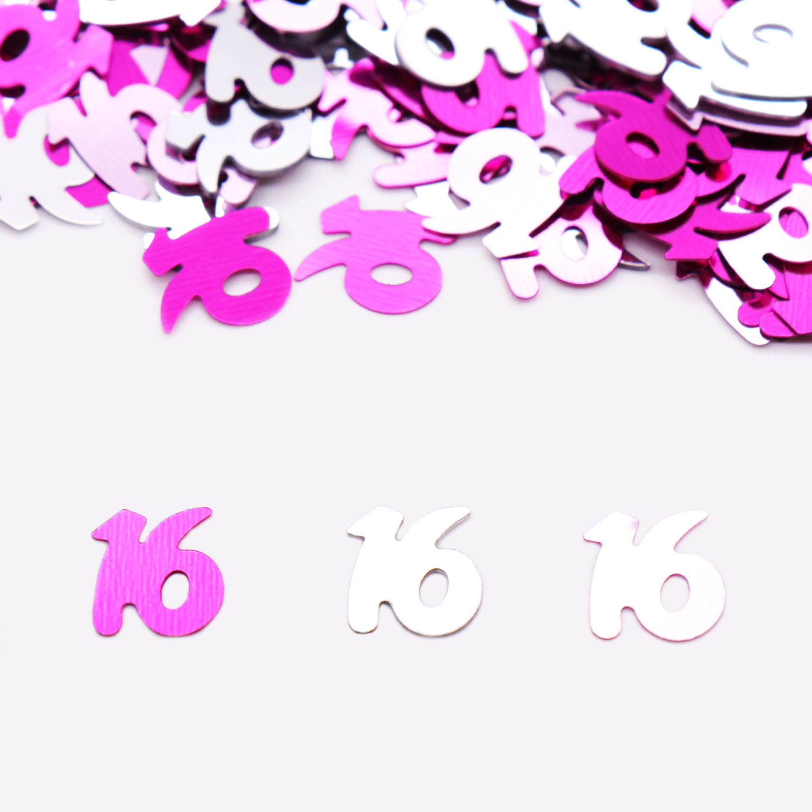 Number 16 Silver Pink Lt Pink Birthday Party Confetti Table Scatters Supplies